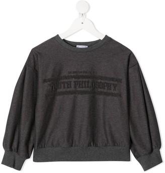BRUNELLO CUCINELLI KIDS Embroidered Logo Long-Sleeved Sweatshirt