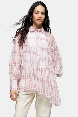 Topshop Pink Check Tiered Shirt