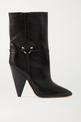 Isabel Marant Lunder Leather Ankle Boots - Black