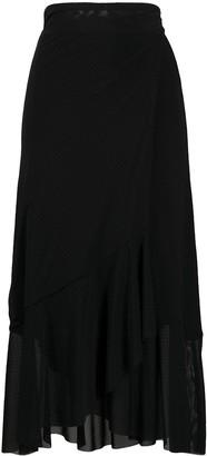 Ganni Mesh Ruffle Hem Skirt