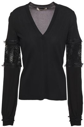 Roberto Cavalli Embroidered Tulle, Georgette, And Wool Sweater