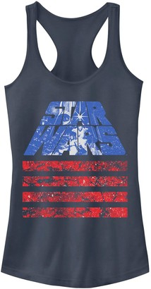 Licensed Character Juniors' Star Wars Red White And Blue American Flag Poster Tank