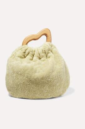 Nanushka Mahala Mini Faux Fur And Wood Tote - Green