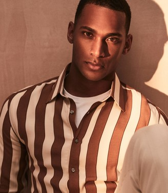 Reiss Retti - Striped Long Sleeved Shirt in Rust