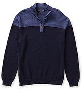 Roundtree & Yorke Color Block Quarter-Zip Mockneck Sweater