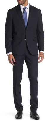 Kenneth Cole Reaction Pinstripe Navy Two Button Notch Lapel Trim Fit Suit