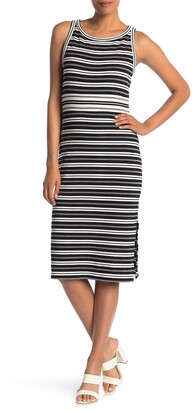 Max Studio Stripe Knit Midi Dress