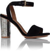 See by Chloé Mid Mirror Block Heal Velvet Sandal W Ankle Strap