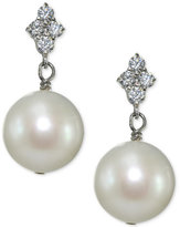 Giani Bernini Freshwater Pearl (11mm) & Cubic Zirconia Drop Earrings in Sterling Silver, Created for Macy's