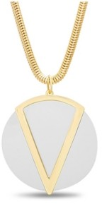 Catherine Malandrino Women's White Flat Disc Chain Necklace