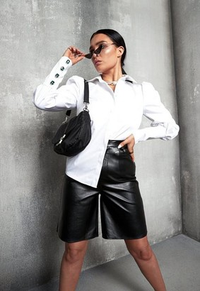 Missguided Lissy Roddy X Black Faux Leather Longline Shorts