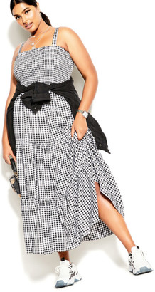 City Chic Gingham Maxi Dress - gingham