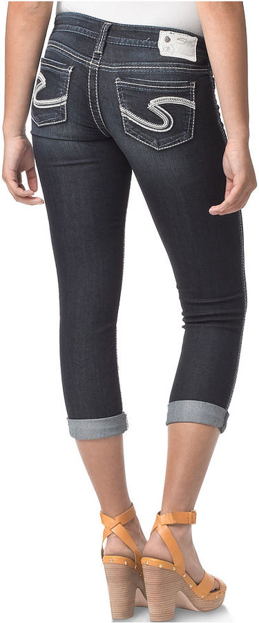 Silver Jeans Juniors Jeans, Frances Capri, Dark Wash
