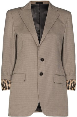 R 13 Houndstooth-Pattern Single-Breasted Blazer