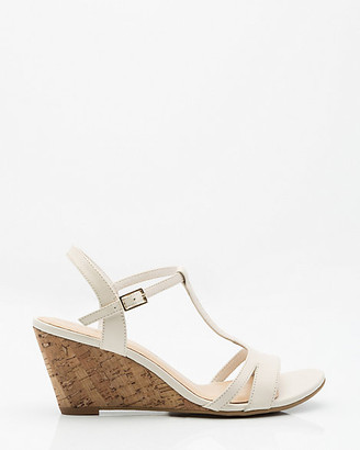 Le Château Leather T-Strap Cork Wedge