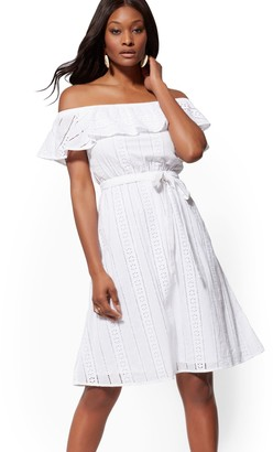 New York & Co. Eyelet Off-The-Shoulder Flare Dress