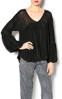 Gracia Black Ruffled Mesh Blouse