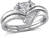 0.32ctw Triangular Diamond Engagement Ring and Wedding Band 14K White Gold 2-piece Set