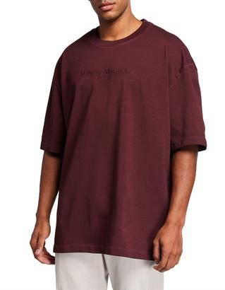 Maison Margiela Men's Resin Garment-Dyed Logo Oversized Tee