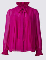 Marks and Spencer Pleated Tie Long Sleeve Blouse