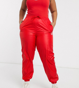 Puma Plus High Waisted Joggers in red exclusive at ASOS