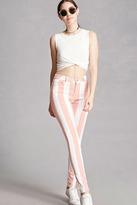 Forever 21 FOREVER 21+ Motel Striped Twill Skinny Pants