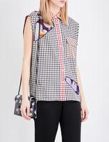 Christopher Kane Lace-insert gingham-print cotton shirt