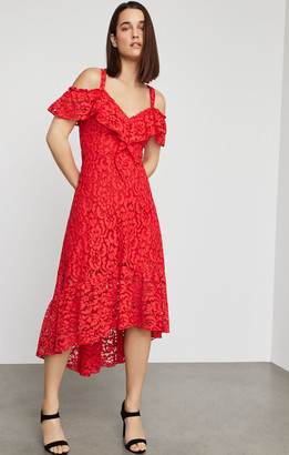 BCBGMAXAZRIA Lace High-Low Flared Dress