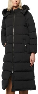 Andrew Marc Faux-Fur-Trim Hooded Puffer Coat