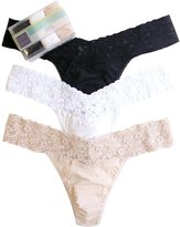 Hanky Panky Cotton With A Conscience Low Rise Thong 3 Pack - Black/White/Chai - One Size