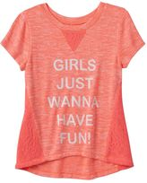 Miss Chievous Girls 7-16 Crochet Trim High-Low Graphic Tee