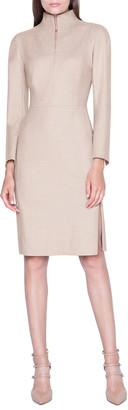 Akris Flannel Long-Sleeve Zip-Front Dress