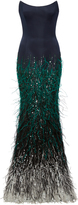 Elizabeth Kennedy Strapless Fitted Gown With Ombre Feather Embroidery