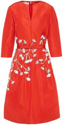 Oscar de la Renta Floral-appliqued Silk-faille Dress