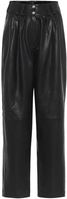 Balmain High-rise leather straight pants
