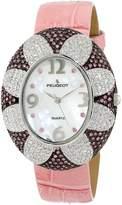 Peugeot Women's J1409PK Pink Swarovski Crystal Oval Case Pink Strap Watch