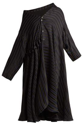 Palmer Harding Palmer//Harding Palmer//harding - Jasmine Asymmetric Striped Jacquard Shirtdress - Womens - Navy