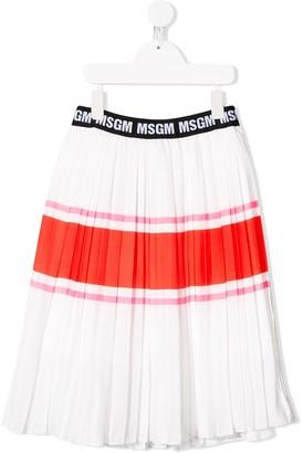 Msgm Kids Striped Pleated Midi Skirt