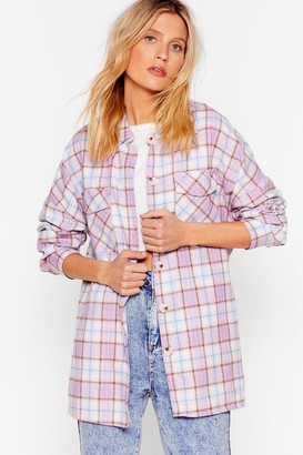 Nasty Gal Womens All A-lined Oversized Check Shirt - Pink
