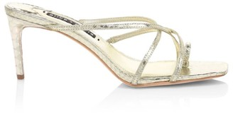 Alice + Olivia Sabrine Metallic Croc-Embossed Leather Mules