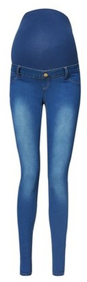 Dorothy Perkins Womens Maternity Blue Mid Wash Overbump Super Skinny Fit Jeans, Blue