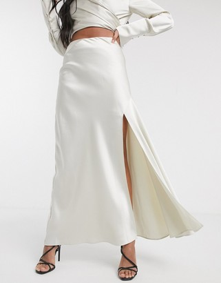 Significant Other lucine satin maxi skirt with slit