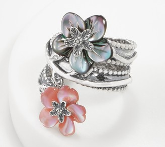 Or Paz Sterling Carved Mother-of- Pearl Flower Gemstone Ring