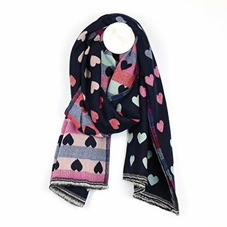Pom Boutique Reversible navy and pastel jacquard heart scarf