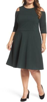 Eliza J Long Sleeve Cold Shoulder Fit & Flare Dress