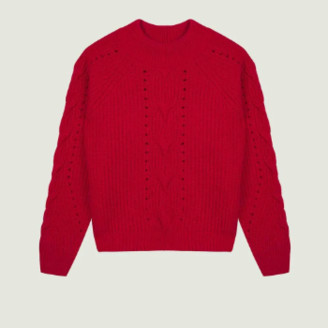 Maison Labiche Red Torsades Sweater - red | wool | xs - Red/Red