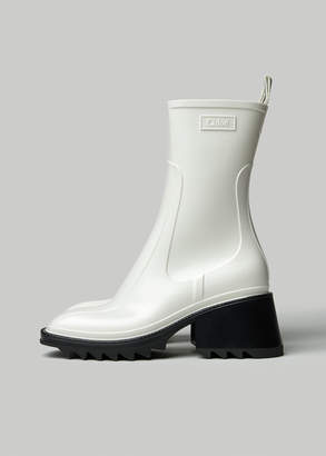 Chloé Women's Betty Rubber Boot in White Size 36 Synthetic/Rubber/Textile