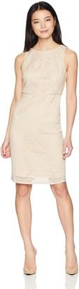 Adrianna Papell Women's Petite Vintage Stripe LACE Sheath Dress