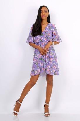 Lilura London Summer Mini Wrap Dress With Frill Hem In Purple Floral Print