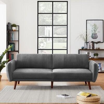 "Thumbnail for your product : Corrigan Studio Truro 84.25"" Velvet Square Arm Sofa Fabric: Light Gray"